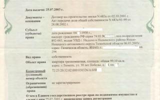 Реквизиты свидетельства о государственной регистрации права